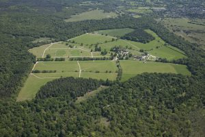 An aerial view of long meadow campsite in the New Forest
